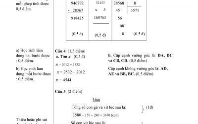 đề kiểm tra môn toán lớp 4