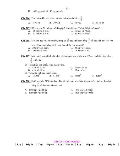 trắc nghiệm toán lớp 4