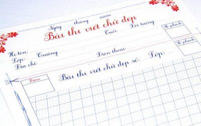 mẫu giấy thi chữ đẹp