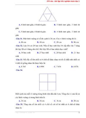 216 bài tập trắc nghiệm toán lớp 3