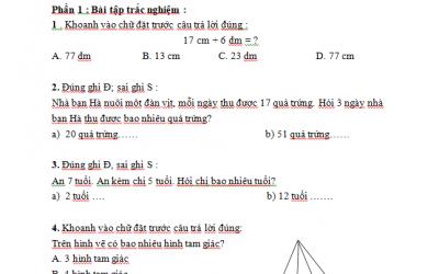 Bài tập cuối tuần môn toán lớp 2