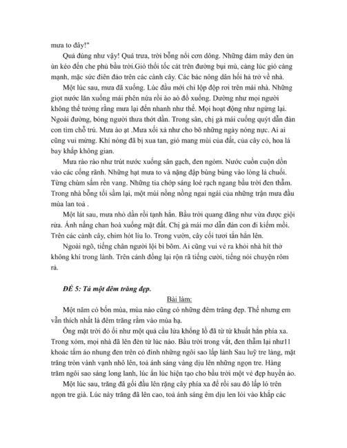 một số bài văn tả cảnh lớp 5