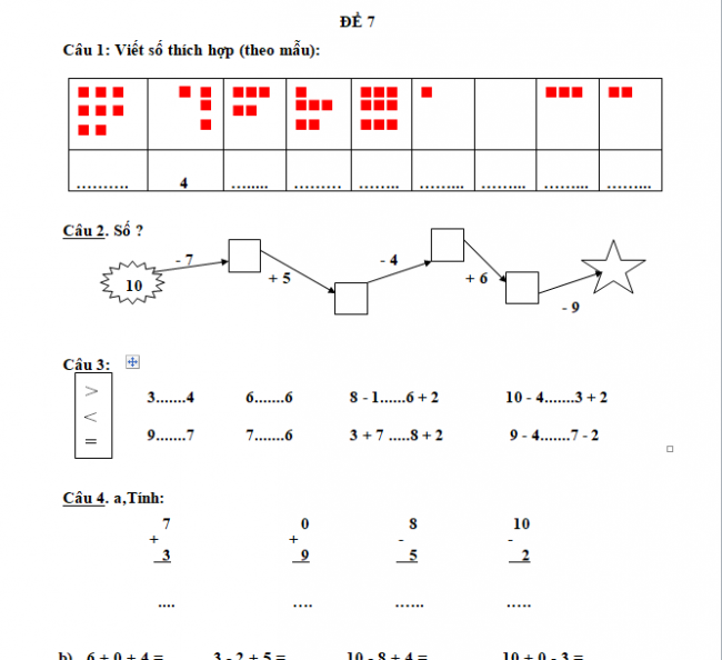 30 đề kiểm tra học kỳ 1 môn Toán lớp 1