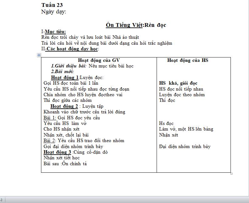 Bản mềm: Giáo án buổi chiều từ tuần 1 đến 33 lớp 3