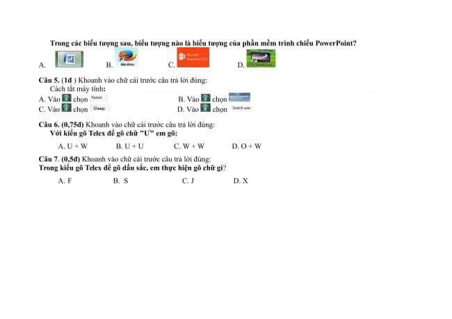 đề kiểm tra môn tin khối 3,4,5 học kỳ 2