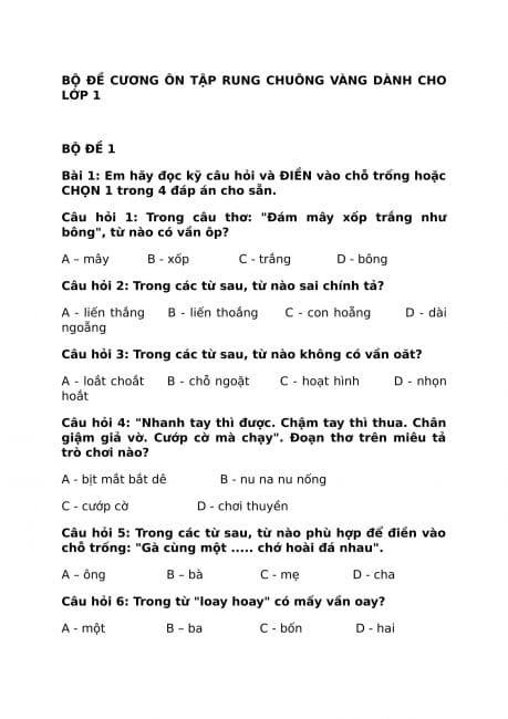 các câu hỏi ôn rung chuông vàng ở trang 1