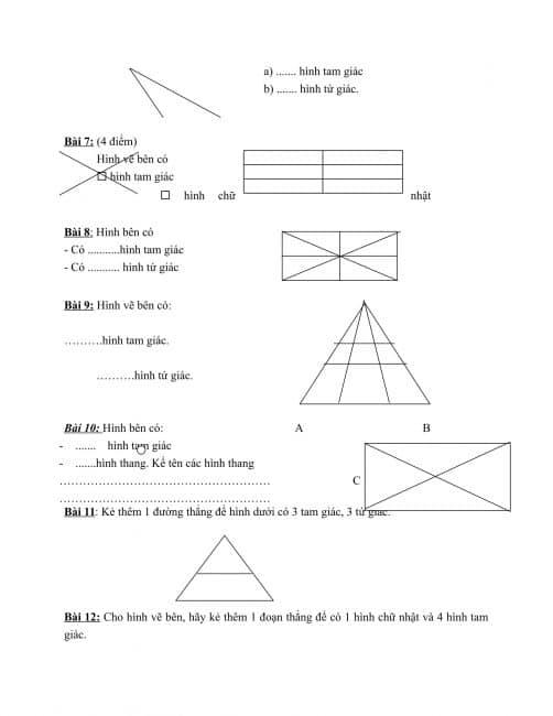Các bài toán đếm hình lớp 2