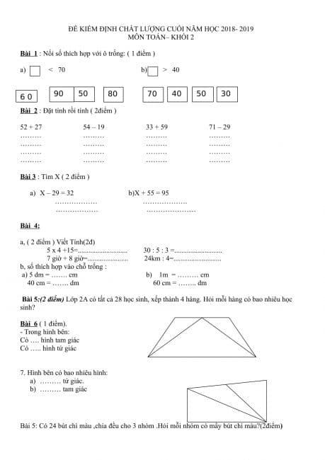 29 đề ôn toán lớp 2 cuối học kỳ 2