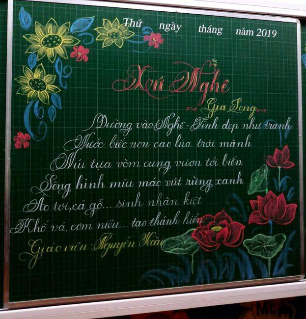 Một số mẫu trang trí bảng đơn giản cho thi chữ đẹp.