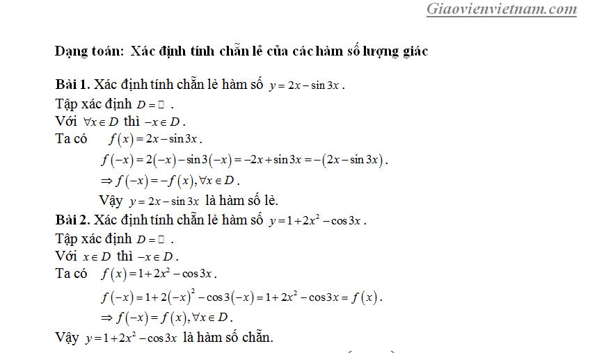 Xét tính chẵn lẻ của hàm số lượng giác