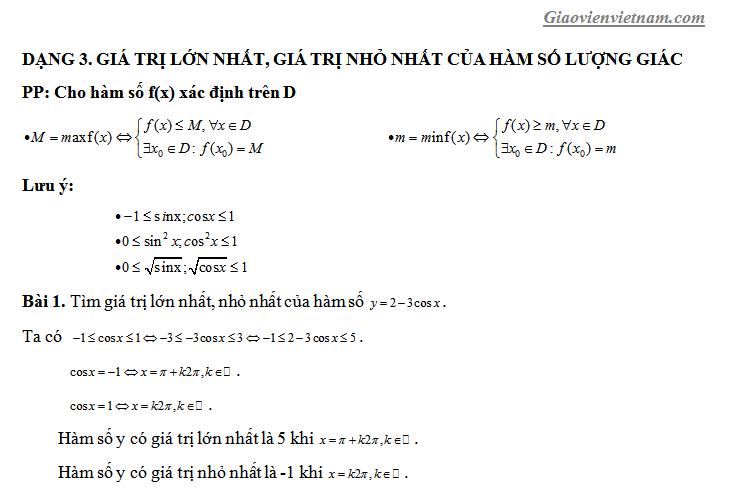 Tìm gtln gtnn của hàm số lượng giác- Tổng hợp các phương pháp đặc sắc