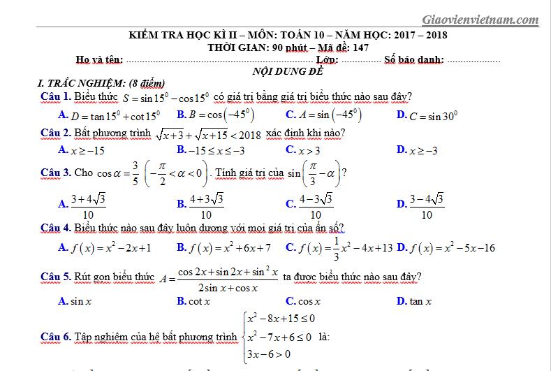 Đề thi học kì 2 lớp 10 môn Toán trắc nghiệm có đáp án