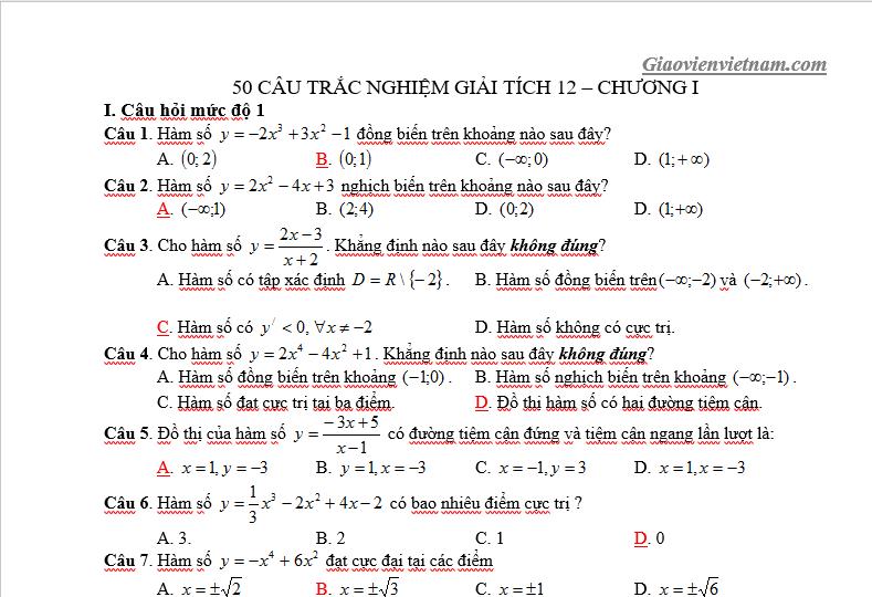 Bài tập trắc nghiệm Toán 12 chương 1