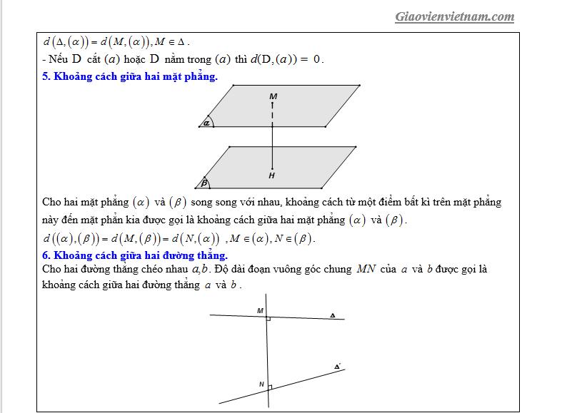 khoảng cách giữa 2 đường thẳng chéo nhau