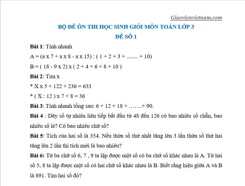 đề toán lớp 3