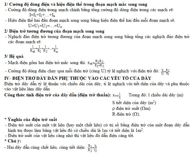 Tài liệu dạy học vật lý 9 - Tóm tắt kiến thức cả năm học