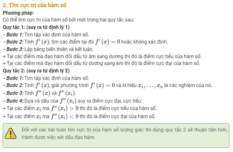 Cực trị của hàm số- Lý thuyết và bài tập có lời giải cực hay