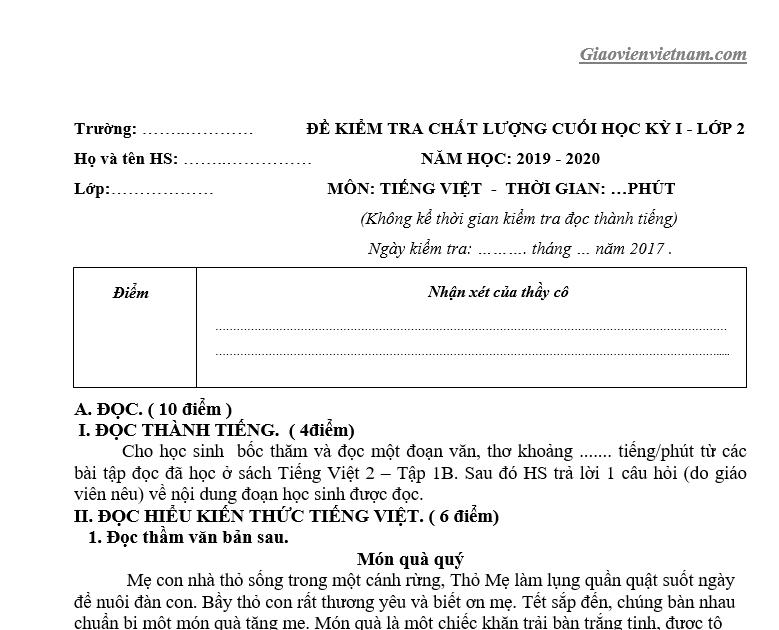 Bộ đề thi học kì 1 lớp 2 môn Tiếng Việt có ma trận và đáp án