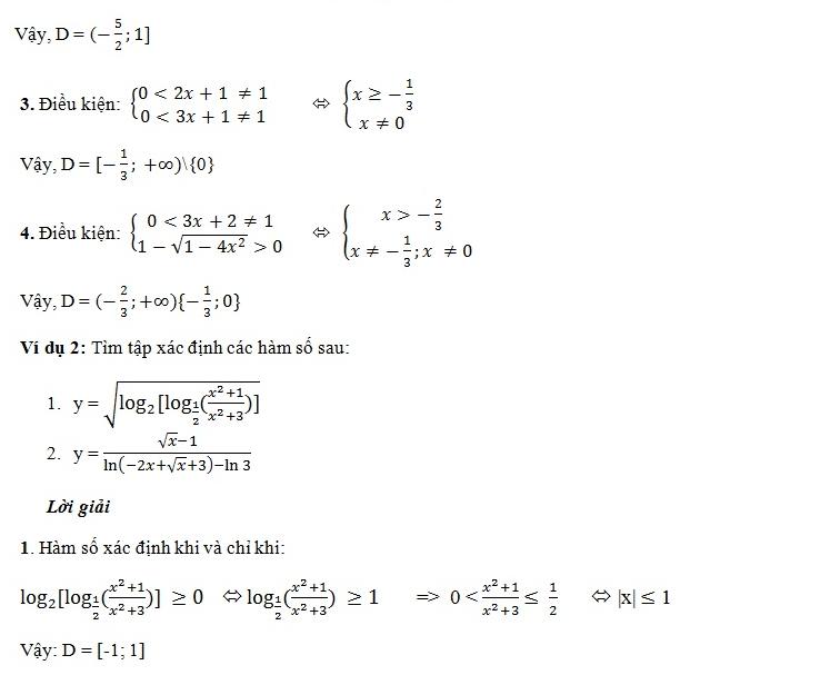 Tập xác định của hàm số mũ