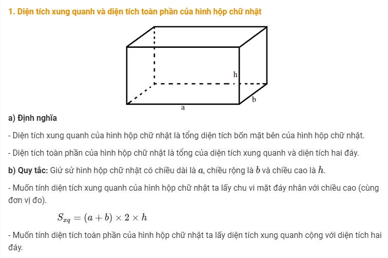 diện tích toàn phần của hình hộp chữ nhật