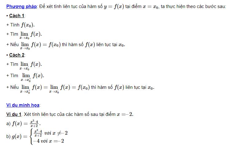 Xét tính liên tục của hàm số