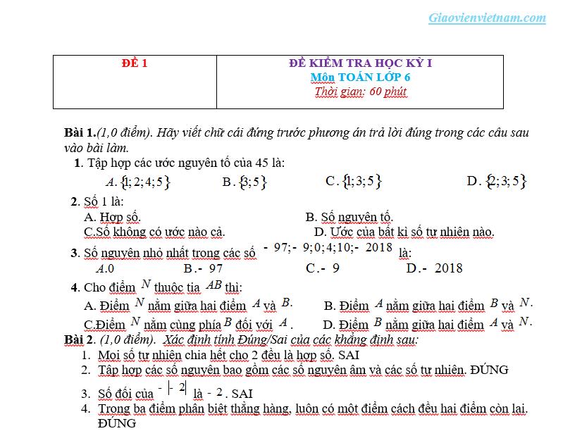 Đề thi học kì 1 Toán 6
