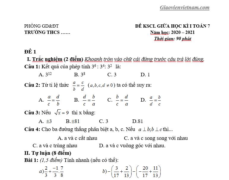 Đề thi giữa kì 1 Toán 7