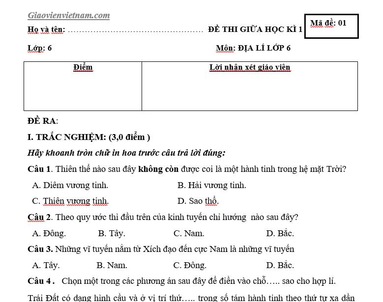 Đề thi giữa kì 1 Địa lí 6