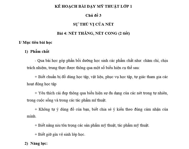 Giáo án Mỹ thuật lớp 1 sách Cánh Diều
