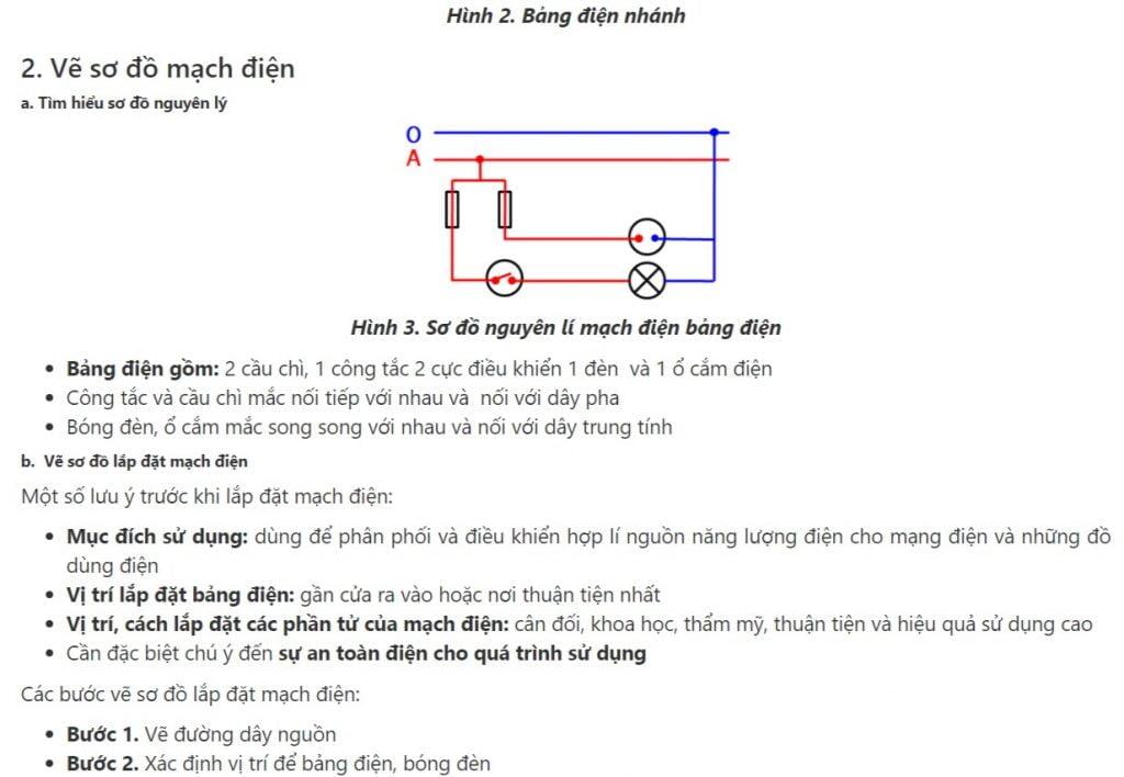 Sơ đồ lắp đặt mạch điện bảng điện - Thực hành công nghệ 9