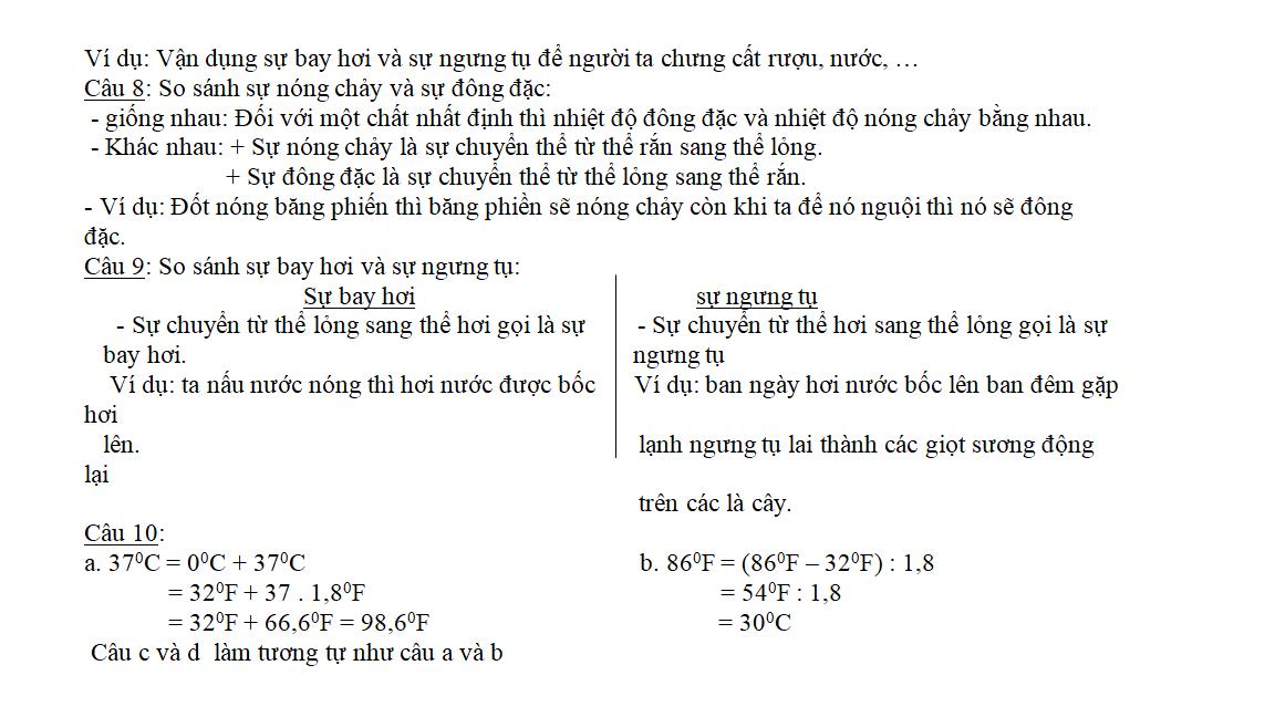 ôn tập vật lý 6 học kì 2