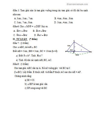 Đề kiểm tra 1 tiết hình học 7 chương 2 có đáp án năm 2020-2021