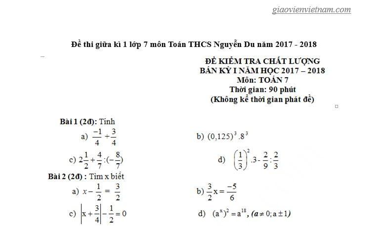 đề thi giữa kì toán