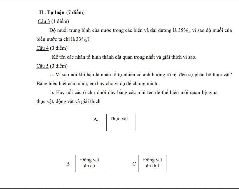 đề thi địa lý lớp 6