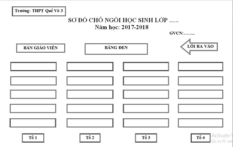 Mẫu sơ đồ chỗ ngồi học sinh trong lớp