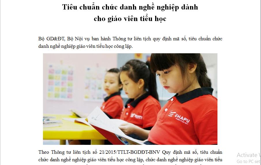 Tiêu chuẩn chức danh nghề nghiệp dành cho giáo viên tiểu học