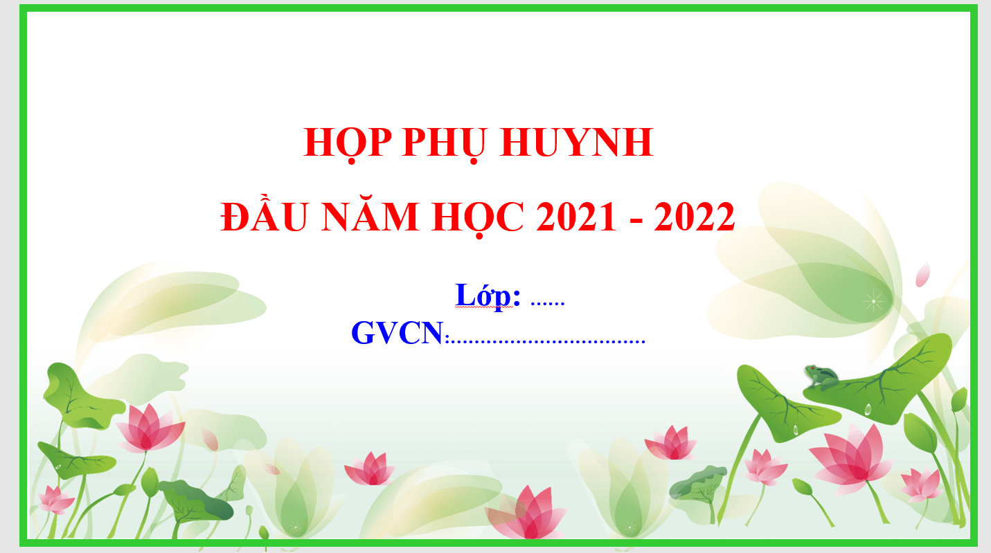 Powerpoint họp phụ huynh