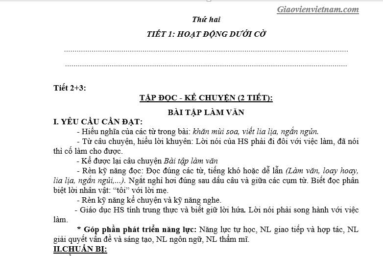 Bộ giáo án lớp 3 soạn theo CV 2345