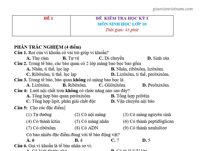 Đề Thi HK1 Sinh Học 10 p1