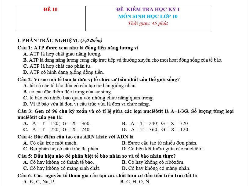 Đề Thi HK1 Sinh Học 10 p2