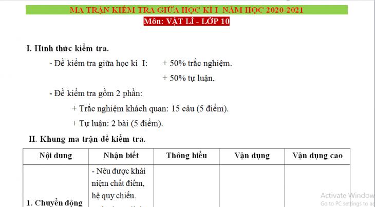 Ma trận đề kiểm tra giữa học kỳ 1 Lý 10 năm học 2021-2022