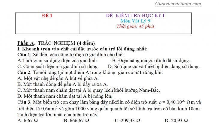 Đề thi học kỳ 1 môn Vật lý lớp 9